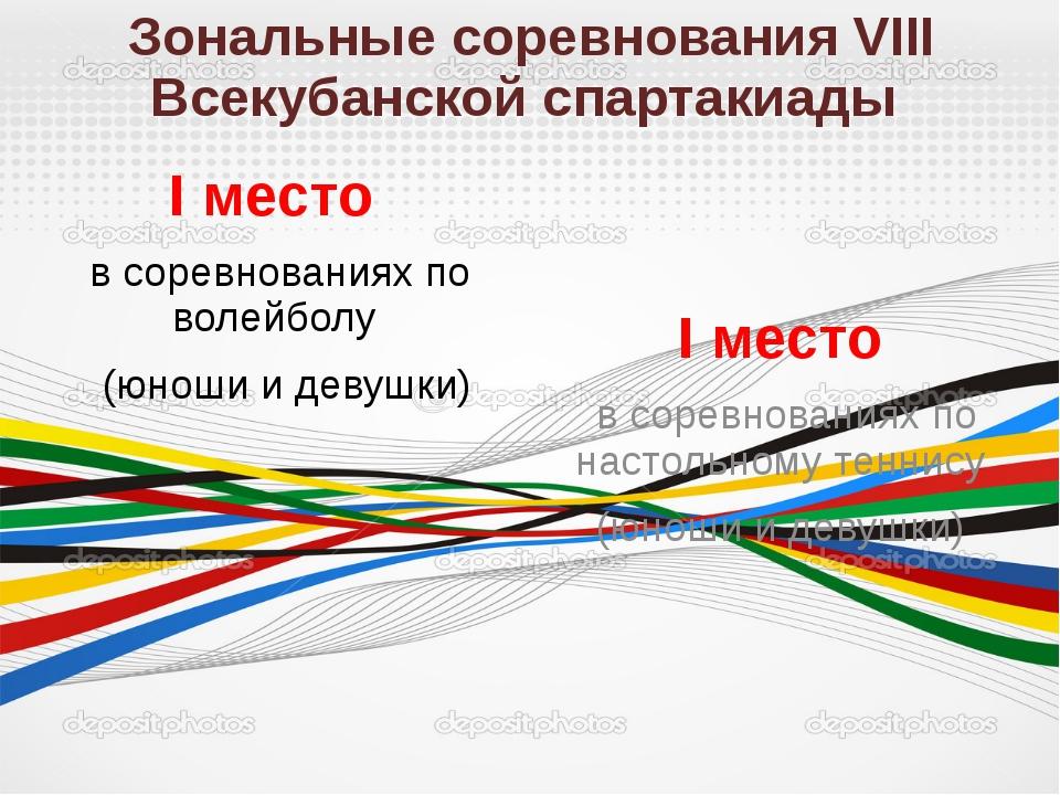 Зональные соревнования VIII Всекубанской спартакиады I место в соревнованиях...