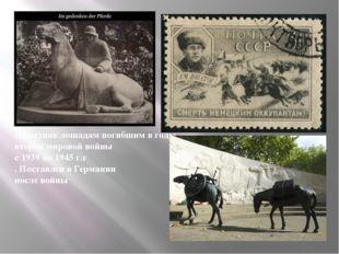 Памятник лошадям погибшим в годы второй мировой войны с 1939 по 1945 г.г . По