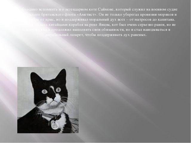 Необходимо вспомнить и о легендарном коте Саймоне, который служил на военном...