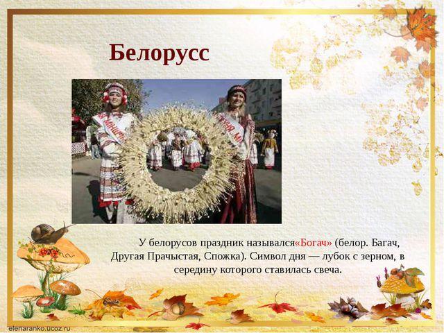 Белоруссия У белорусов праздник назывался«Богач»(белор. Багач, Другая Прачы...