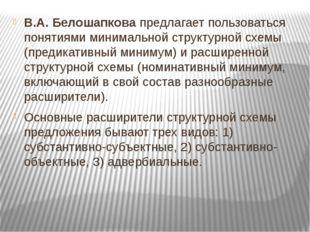 В.А. Белошапкова предлагает пользоваться понятиями минимальной структурной сх