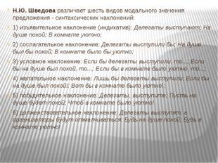 Н.Ю. Шведова различает шесть видов модального значения предложения - синтакси