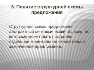 3. Понятие структурной схемы предложения Структурная схема предложения – абст