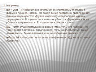 Например: Inf + Vf3s – «Инфинитив в сочетании со спрягаемым глаголом в форме