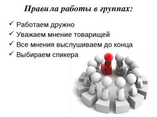 Правила работы в группах: Работаем дружно Уважаем мнение товарищей Все мнения
