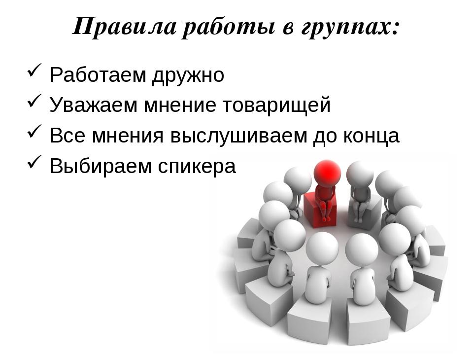Правила работы в группах: Работаем дружно Уважаем мнение товарищей Все мнения...