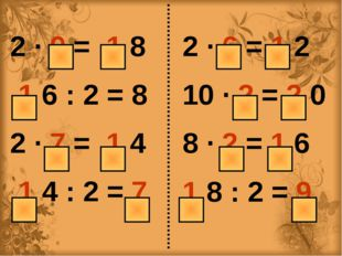 2 ∙ 9 = 1 8 1 6 : 2 = 8 2 ∙ 7 = 1 4 1 4 : 2 = 7 2 ∙ 6 = 1 2 10 ∙ 2 = 2 0 8 ∙