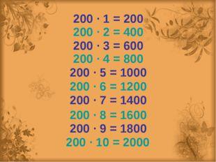 200 ∙ 2 = 400 200 ∙ 3 = 600 200 ∙ 4 = 800 200 ∙ 5 = 1000 200 ∙ 6 = 1200 200 ∙
