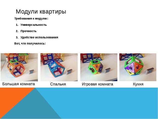 Модули квартиры Требования к модулю: Универсальность Прочность Удобство испол...