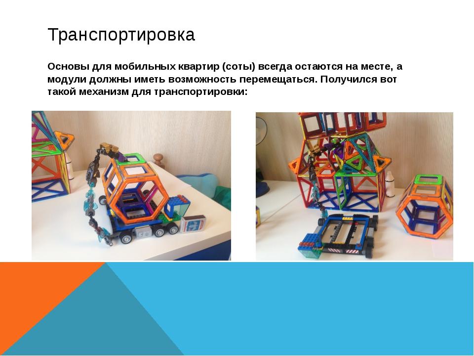 Транспортировка Основы для мобильных квартир (соты) всегда остаются на месте,...