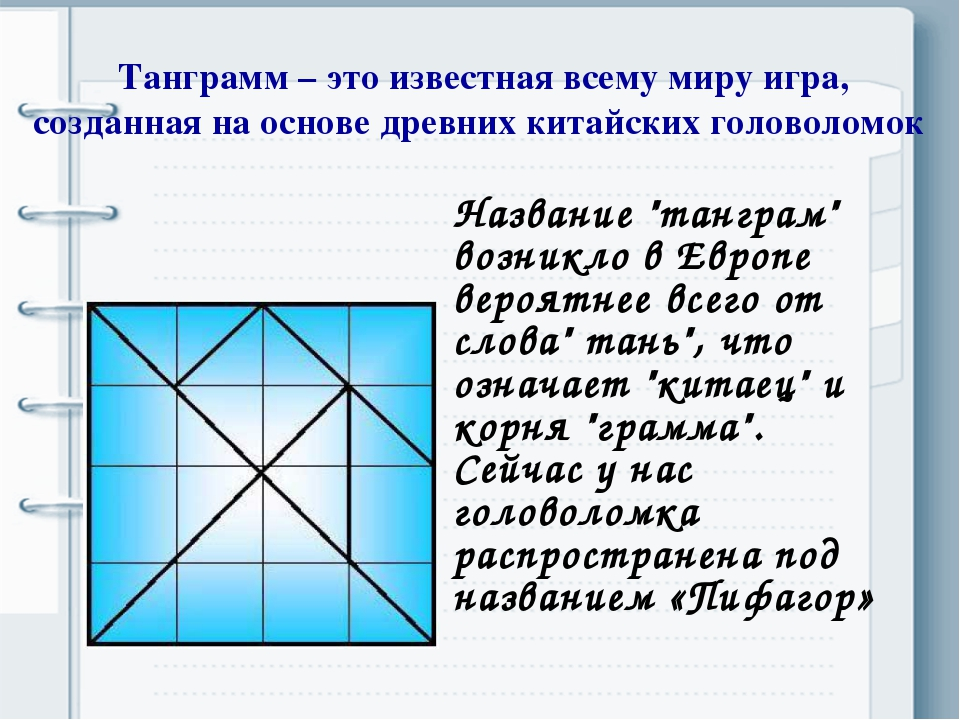 Танграмм – это известная всему миру игра, созданная на основе древних китайск...