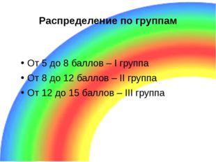 Распределение по группам От 5 до 8 баллов – I группа От 8 до 12 баллов – II г