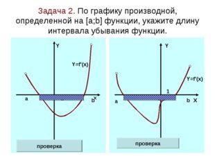 Задача 2. По графику производной, определенной на [а;b] функции, укажите длин