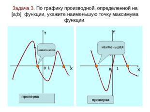 Задача 3. По графику производной, определенной на [а;b] функции, укажите наим