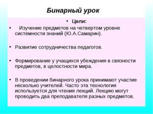 Бинарный урок Цели: Изучение предметов на четвертом уровне системности знани