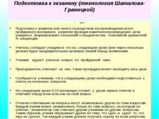 Подготовка к экзамену (технология Шаталова-Границкой) Цели: Подготовка к экза