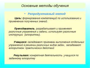 Основные методы обучения Репродуктивный метод Цель: формирование компетенций