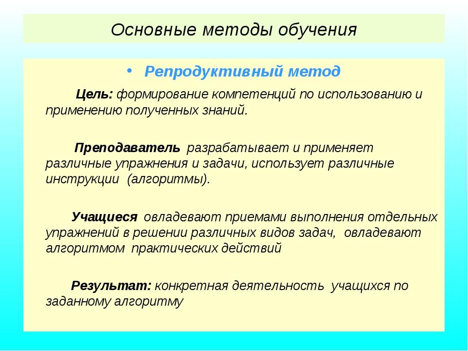 Основные методы обучения Репродуктивный метод Цель: формирование компетенций...