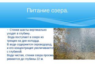 Стенки шахты вертикально уходят в глубину. Вода поступает в озеро из трещин н