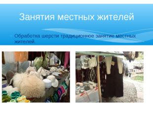 Обработка шерсти традиционное занятие местных жителей. Занятия местных жителей