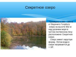 Секретное озеро Примерно в 200 – 300 м от Верхнего Голубого озера на высоте 9