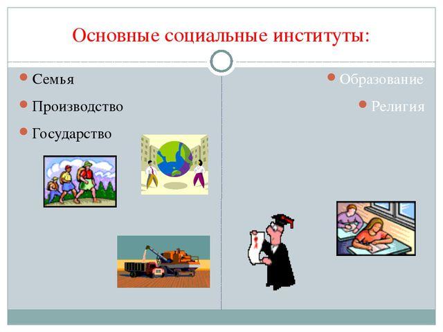 Основные социальные институты: Семья Производство Государство Образование Рел...