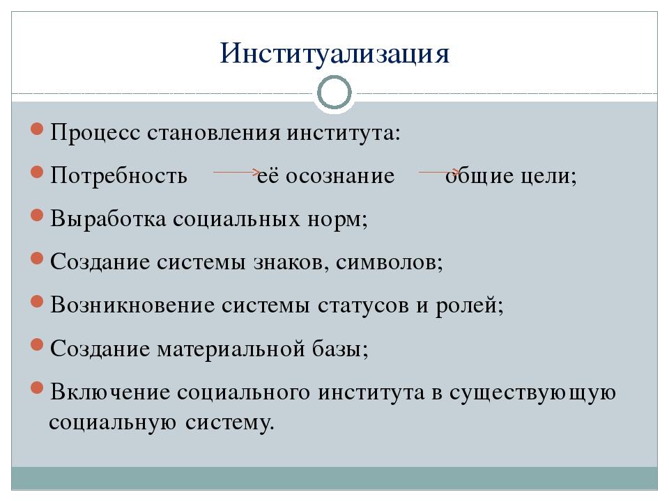 Институализация Процесс становления института: Потребность её осознание общие...