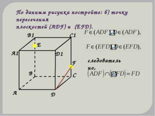 По данным рисунка постройте: б) точку пересечения плоскостей (АDF) и (ЕFD). с