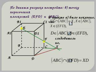 По данным рисунка постройте: в) точку пересечения плоскостей (ЕFD) и (АВС) В