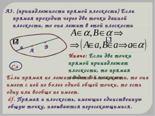 А3. (принадлежности прямой плоскости) Если прямая проходит через две точки да