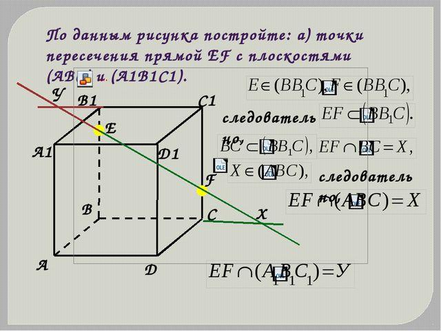 По данным рисунка постройте: а) точки пересечения прямой ЕF с плоскостями (АВ...