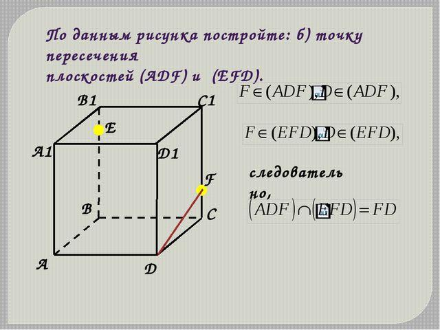 По данным рисунка постройте: б) точку пересечения плоскостей (АDF) и (ЕFD). с...