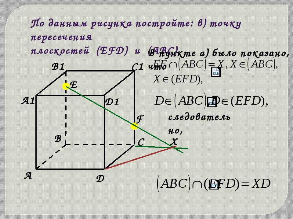 По данным рисунка постройте: в) точку пересечения плоскостей (ЕFD) и (АВС) В...