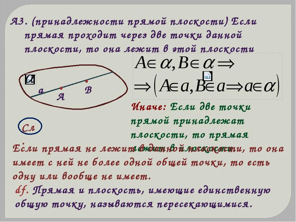 А3. (принадлежности прямой плоскости) Если прямая проходит через две точки да...
