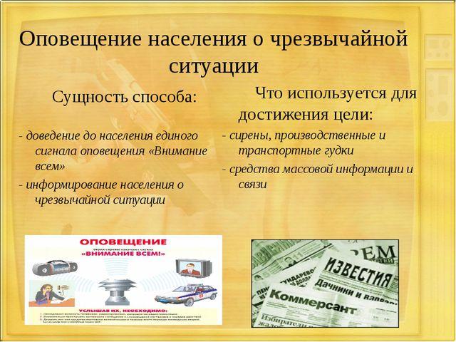 Оповещение населения о чрезвычайной ситуации Сущность способа: - доведение д...