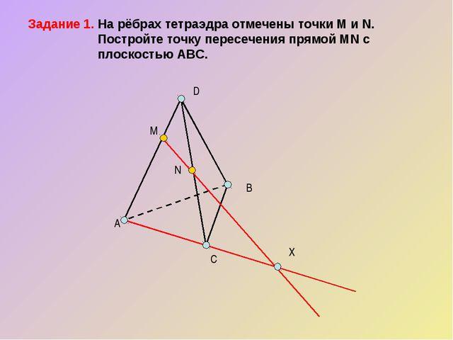 Задание 1. На рёбрах тетраэдра отмечены точки M и N.  Постройте точку перес...