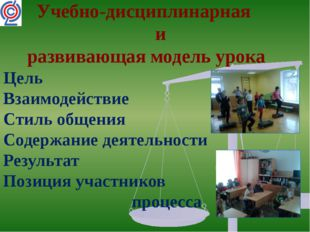 Учебно-дисциплинарная и развивающая модель урока Цель Взаимодействие Стиль о
