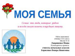 Работу выполнила: ученица 4 «б» класса Школы № 32 Лавриненко Маша Руководител