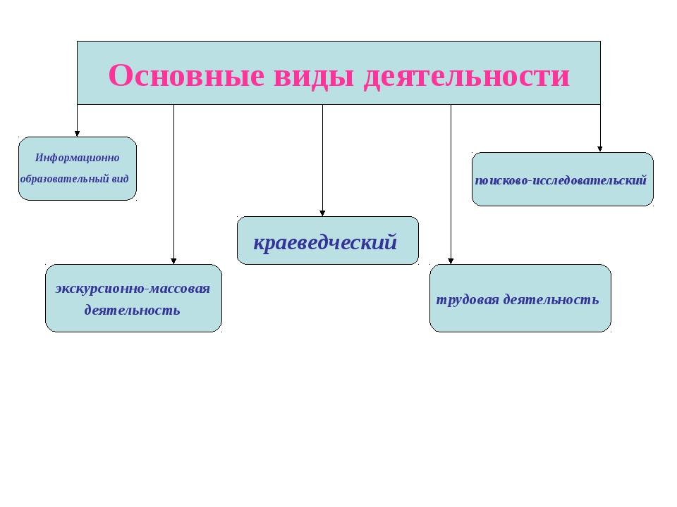 Основные виды деятельности Информационно образовательный вид поисково-исследо...