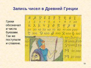 Запись чисел в Древней Греции * Греки обозначали числа буквами. Так же поступ