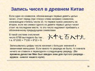 Запись чисел в древнем Китае * В такой системе счисления число 6789 выглядело