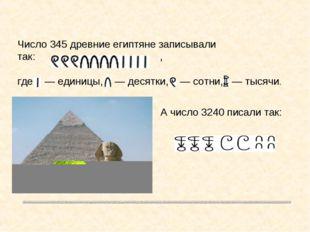 Число 345 древние египтяне записывали так: , где — единицы, — десятки, — сотн