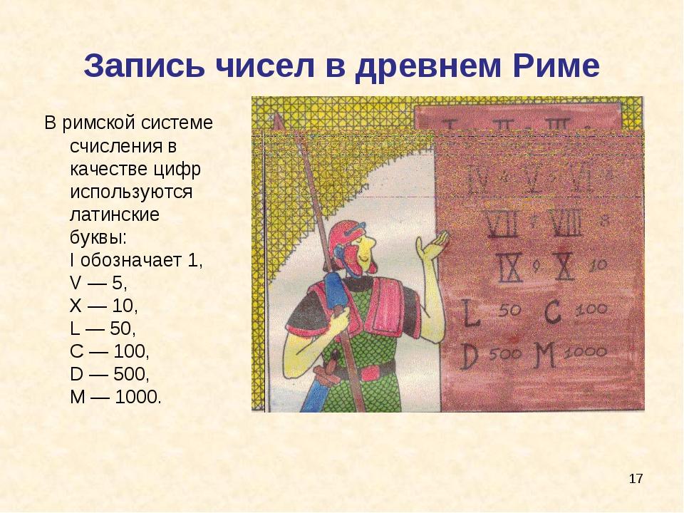 Запись чисел в древнем Риме В римской системе счисления в качестве цифр испол...