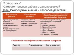 Этап урока VI. Самостоятельная работа с самопроверкой Цель. Самооценка знаний