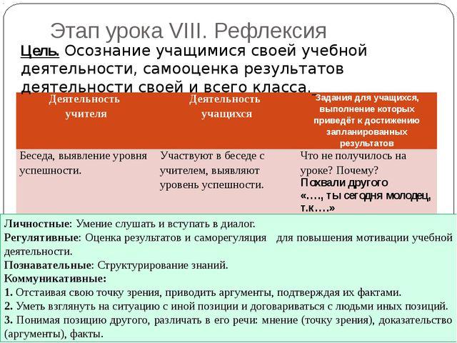 Этап урока VIII. Рефлексия Цель. Осознание учащимися своей учебной деятельнос...