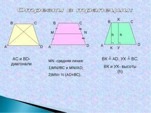 С А В А В С D А В С D К У Х h h АС и ВD- диагонали МN -средняя линия: 1)MN//В