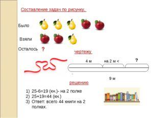 Было Взяли Осталось Составление задач по рисунку, решению чертежу 9 м 4 м на