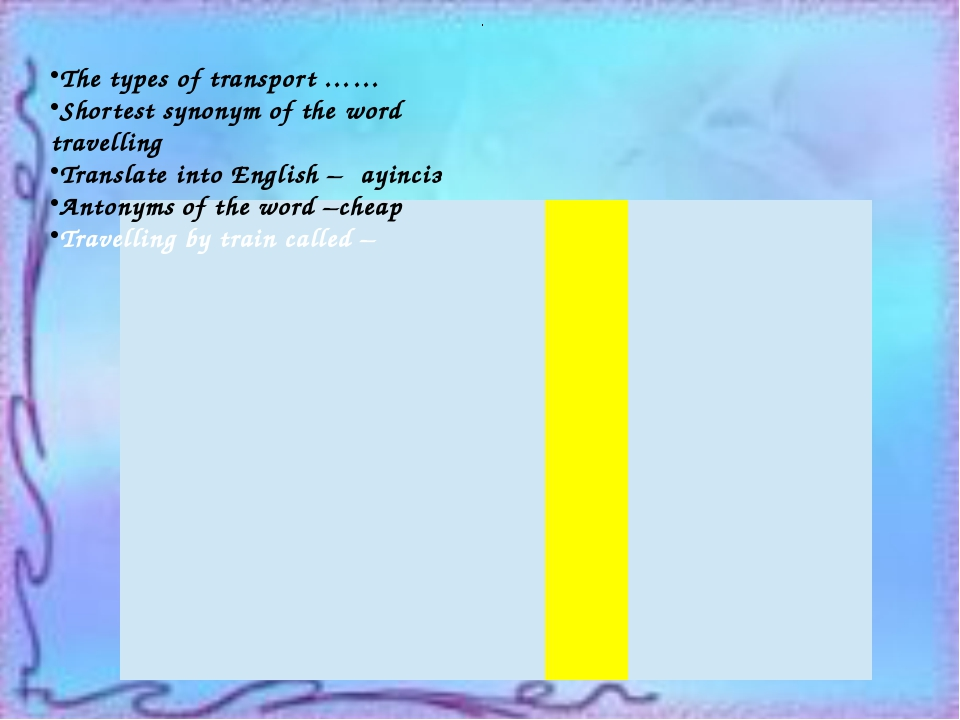 . The types of transport …… Shortest synonym of the word travelling Translat...