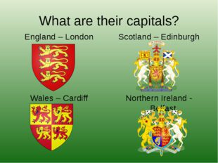 What are their capitals? England – London Wales – Cardiff Scotland – Edinburg