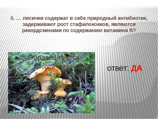 8. … лисички содержат в себе природный антибиотик, задерживают рост стафилок...